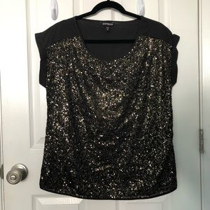 Express black and gold sequined top